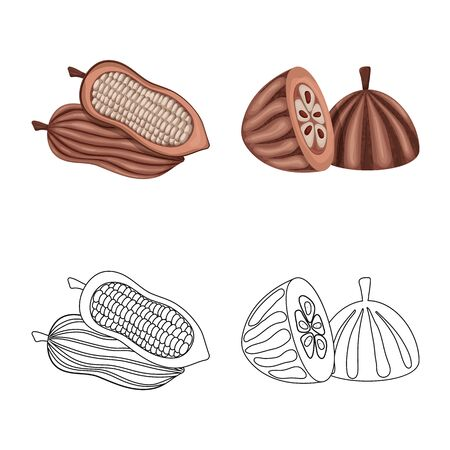 Vector design of food and yummy icon. Set of food and brown   stock symbol for web. Ilustrace