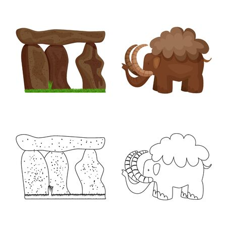 Isolated object of evolution  and prehistory symbol. Set of evolution  and development  stock vector illustration.