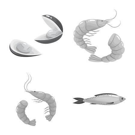 Vector design of seafood and healthy symbol. Collection of seafood and ocean stock symbol for web. Ilustrace