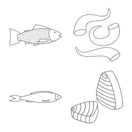 Vector design of food and sea icon. Collection of food and healthy stock vector illustration. Ilustrace