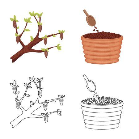 Vector illustration of food and yummy symbol. Collection of food and brown   stock symbol for web. Standard-Bild - 124823848