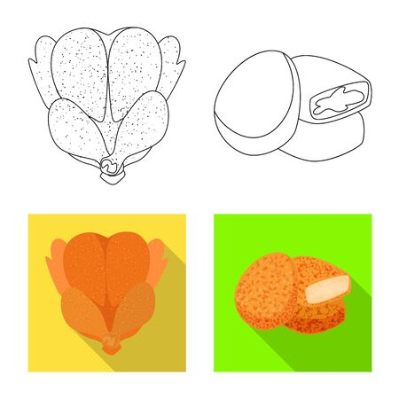 Vector design of product and poultry sign. Collection of product and agriculture    vector icon for stock.