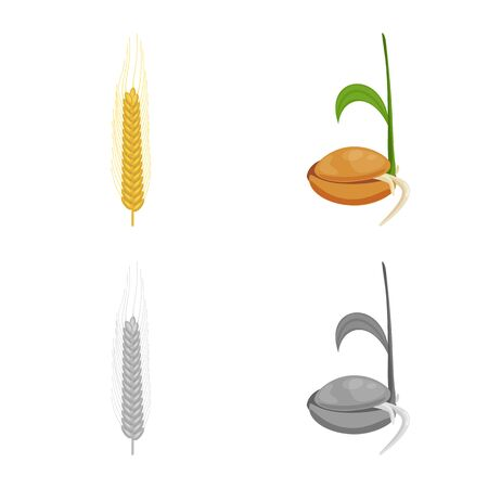 Vector design of agriculture and farming logo. Collection of agriculture and plant  vector icon for stock. Ilustrace