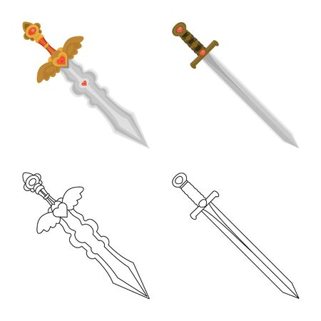 Isolated object of game  and armor  sign. Set of game  and blade  vector icon for stock.