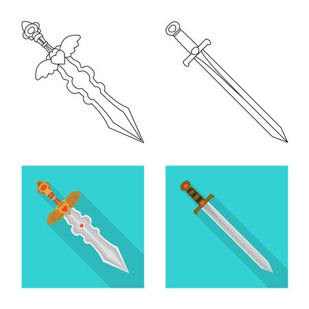 Vector design of game  and armor  icon. Collection of game  and blade  stock symbol for web. Ilustrace
