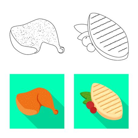 Isolated object of product and poultry sign. Set of product and agriculture    vector icon for stock. Ilustrace