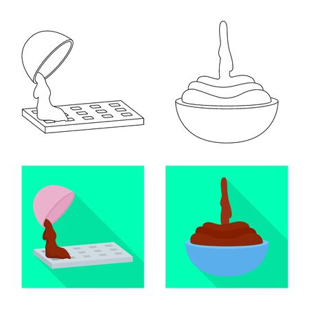 Vector design of food and yummy icon. Collection of food and brown   vector icon for stock. Ilustrace