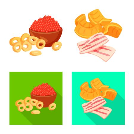 Vector design of taste and seasonin symbol. Set of taste and organic   stock symbol for web.