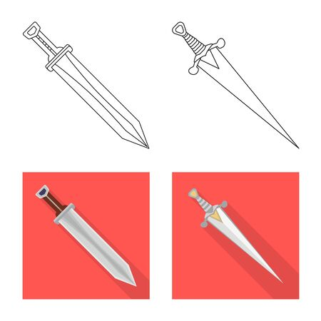 Isolated object of game  and armor  logo. Set of game  and blade  vector icon for stock. Illustration