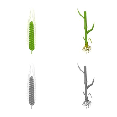 Vector design of agriculture and farming icon. Set of agriculture and plant  stock vector illustration.