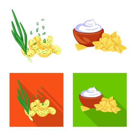 Vektor-Illustration von Geschmack und Seasonin-Symbol. Satz von Geschmack und Bio-Aktiensymbol für das Web. Vektorgrafik
