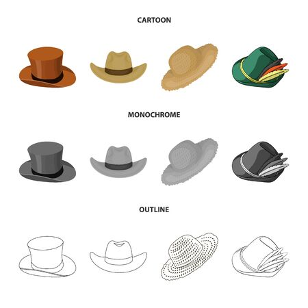 Isolated object of hat and cap sign. Set of hat and model vector icon for stock.
