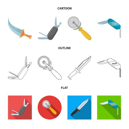 Vector design of knife and cut logo. Collection of knife and flat stock vector illustration.
