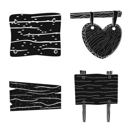 Vector illustration of raw and hardwood symbol. Set of raw and wood stock vector illustration.