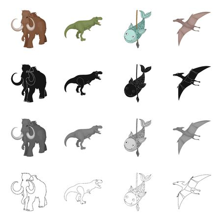 Vector design of animal and character sign. Collection of animal and ancient vector icon for stock.