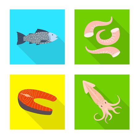 Isolated object of product and ocean logo. Set of product and restaurant vector icon for stock. Ilustração