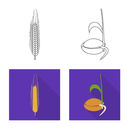 Vector illustration of agriculture and farming icon. Set of agriculture and plant stock vector illustration.