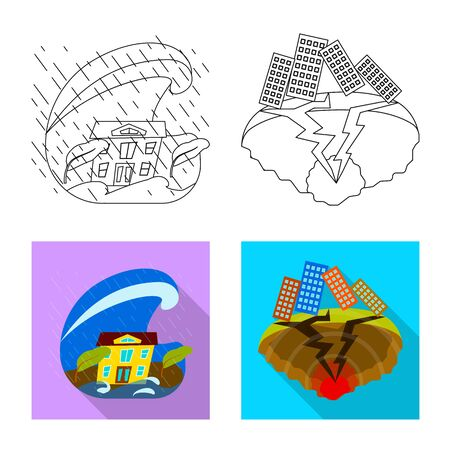 Isolated object of weather and distress logo. Set of weather and crash vector icon for stock. Illustration