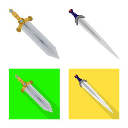 Vector illustration of game and armor symbol. Set of game and blade vector icon for stock.