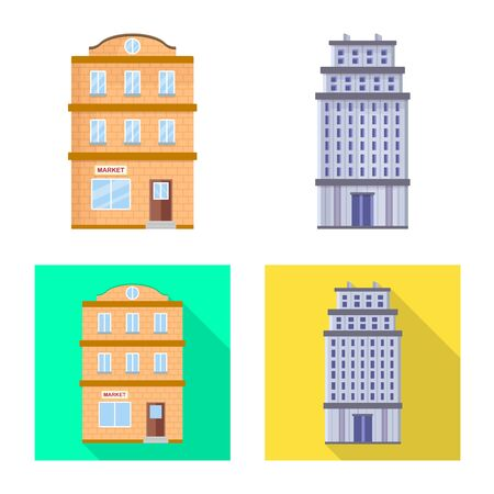 Vector design of municipal and center symbol. Set of municipal and estate vector icon for stock. Illustration