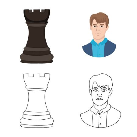 Isolated object of checkmate and thin logo. Set of checkmate and target stock vector illustration. Illustration