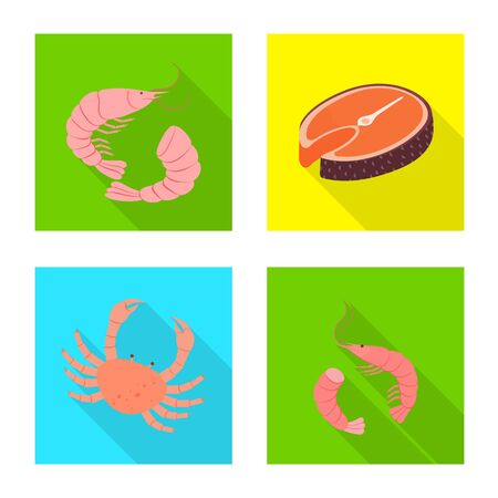 Isolated object of product and ocean logo. Collection of product and restaurant vector icon for stock.