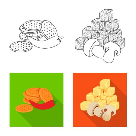 Isolated object of taste and seasonin symbol. Set of taste and organic stock symbol for web.  イラスト・ベクター素材