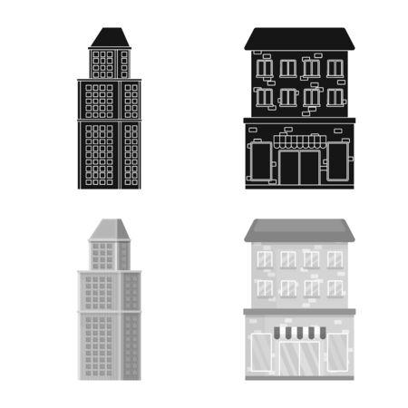 Vector illustration of municipal and center sign. Set of municipal and estate vector icon for stock. Illustration