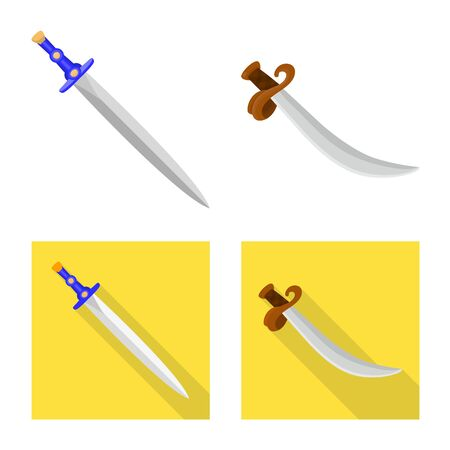 Vector design of game and armor sign. Collection of game and blade stock symbol for web.