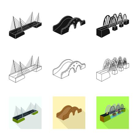 Vector illustration of connection and design sign. Set of connection and side vector icon for stock. Çizim