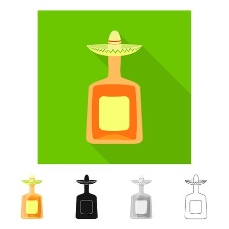 Vector illustration of bottle and alcohol sign. Set of bottle and restaurant stock vector illustration.  イラスト・ベクター素材