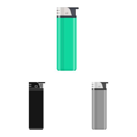 Isolated object of lighter and plastic icon. Collection of lighter and accessory stock symbol for web.