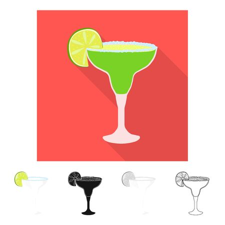 Vector design of cocktail and glass sign. Set of cocktail and drink stock vector illustration.