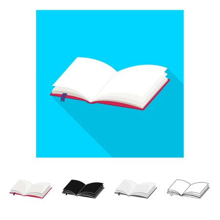 Vector design of book and open icon. Set of book and bookmark stock vector illustration. Иллюстрация