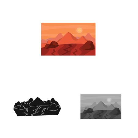 Vector design of surface and mars sign. Set of surface and landscape stock vector illustration.