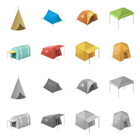 Vector design of tent and camp logo. Collection of tent and forest stock symbol for web.