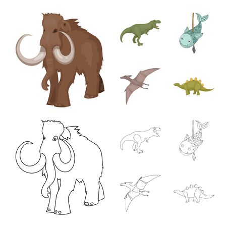 Isolated object of animal and character sign. Collection of animal and ancient stock symbol for web.