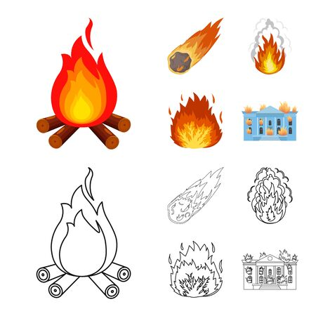 Vector illustration of fire and flame icon. Collection of fire and fireball stock vector illustration.