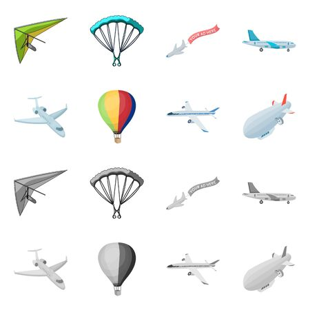 Vector illustration of transport and object sign. Set of transport and gliding vector icon for stock.