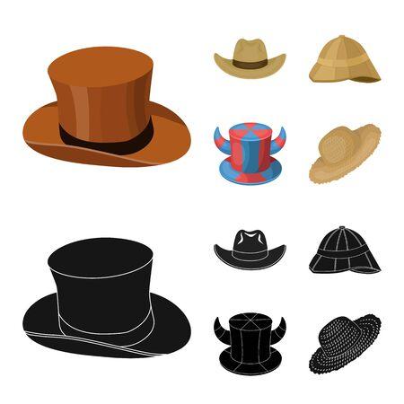 Vector design of hat and cap symbol. Set of hat and model stock symbol for web. Ilustração