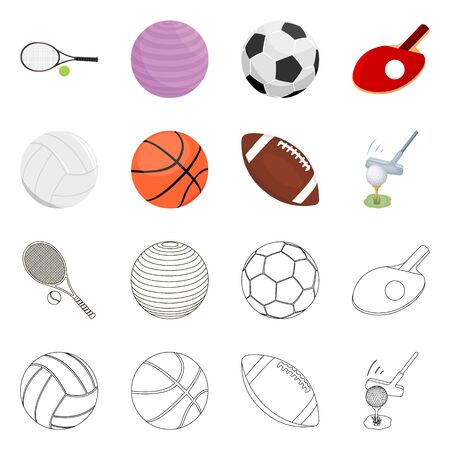 Vector design of ball and soccer symbol. Set of ball and basketball stock vector illustration.