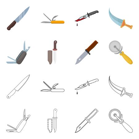 Isolated object of knife and cut symbol. Set of knife and flat stock vector illustration. Фото со стока - 124993145