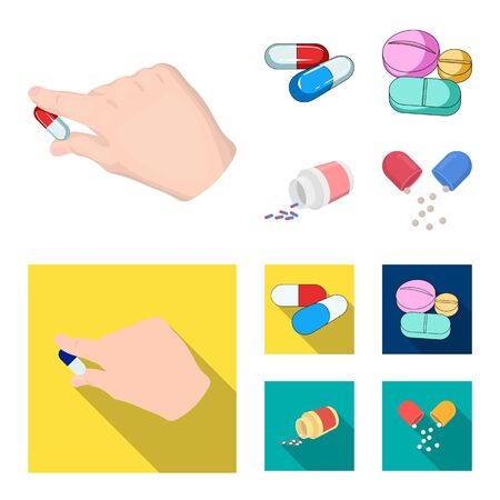 Vector design of pill and medicine symbol. Set of pill and vitamin vector icon for stock.