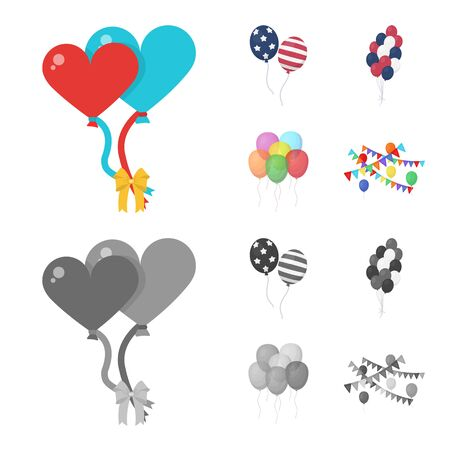 Vector illustration of happy and fun sign. Set of happy and balloon vector icon for stock. Ilustração