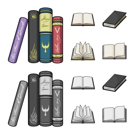 Vector illustration of library and textbook logo. Collection of library and school vector icon for stock.