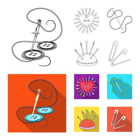 Vector design of pin and sewing sign. Set of pin and sketch stock symbol for web. Banco de Imagens - 124993184