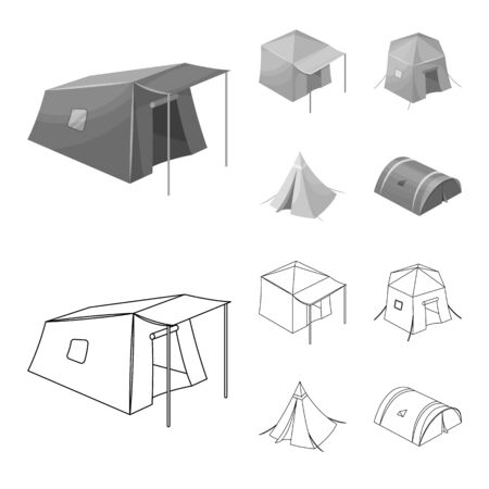 Vector illustration of tent and camp symbol. Set of tent and forest stock vector illustration.