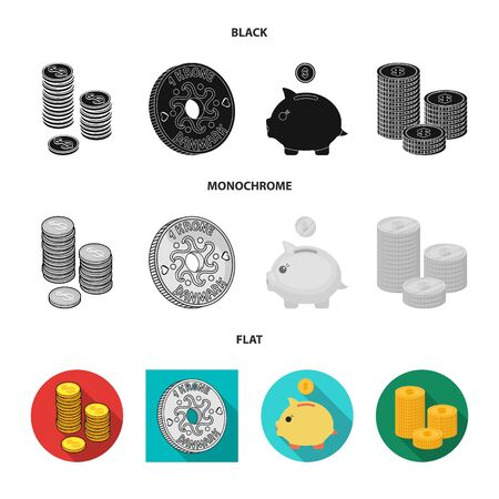 Vector design of coin and treasure sign. Collection of coin and money vector icon for stock.