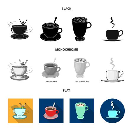 Vector design of cup and coffe logo. Set of cup and top stock symbol for web.