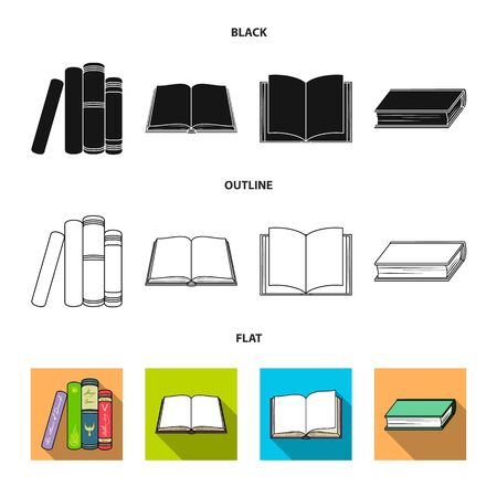 Vector illustration of library and textbook icon. Collection of library and school vector icon for stock.